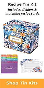 Complete Gift Box Decorative Tin Box, Recipe Cards, Index Dividers 24 dividers, 50 4x6 inch Cards