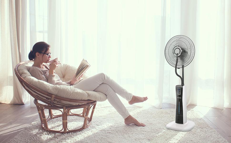 ventilateur sur pied silencieux avec telecommande brumisateur minuterie hummidificateur noir VASNER