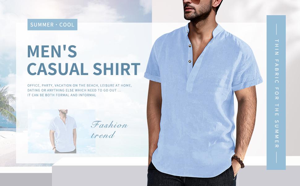 Fueri Mens Summer Shirt 70% Cotton 30% Linen Cool Fabric Grandad Shirt