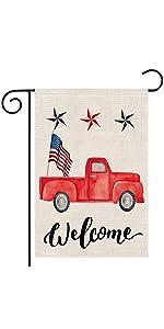 Truck Patriotic Welcome Garden Flag