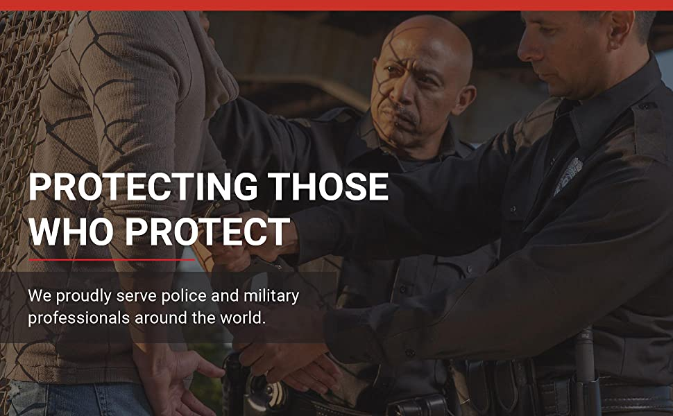 Officers at work. Protecting Those Who Protect: Trusted by police amp;amp; military professionals.