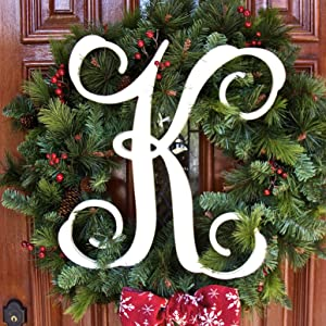 Vine Letter K 19.5 inches tall hanging in a wreath on the front door of a home