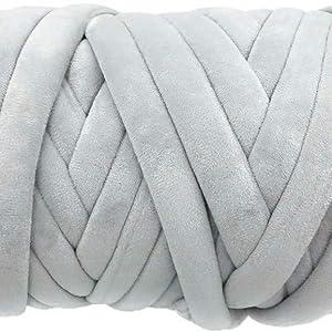 grey velvet chunky tube yarn