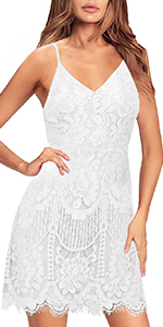 Women's Cocktail Dresses Club Floral Lace Spaghetti Straps Sexy V Neck Back Wedding Guest Dress