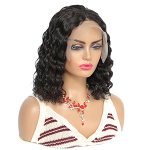water wave short lace front wig human hair
