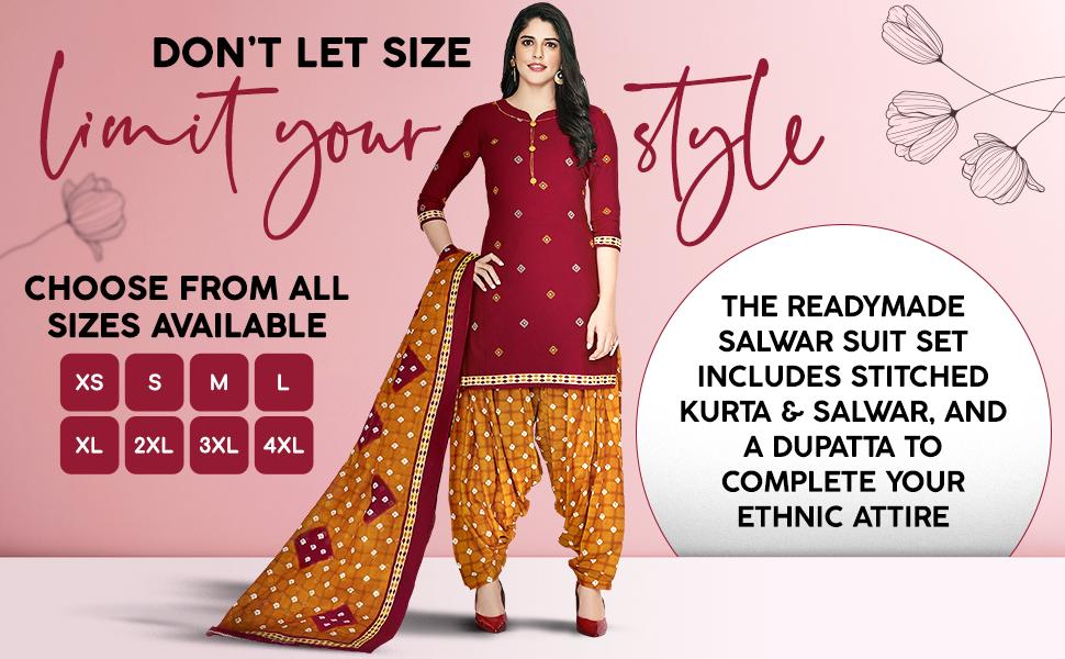 Miraan Cotton Printed Readymade Salwar Suit for Women (MIRAANSGPRI418, Red) SPN-FOR1