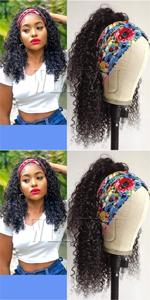 WENYU Headband Wigs For Black Women Human Hair Curly Headband Wig Human Hair Curly