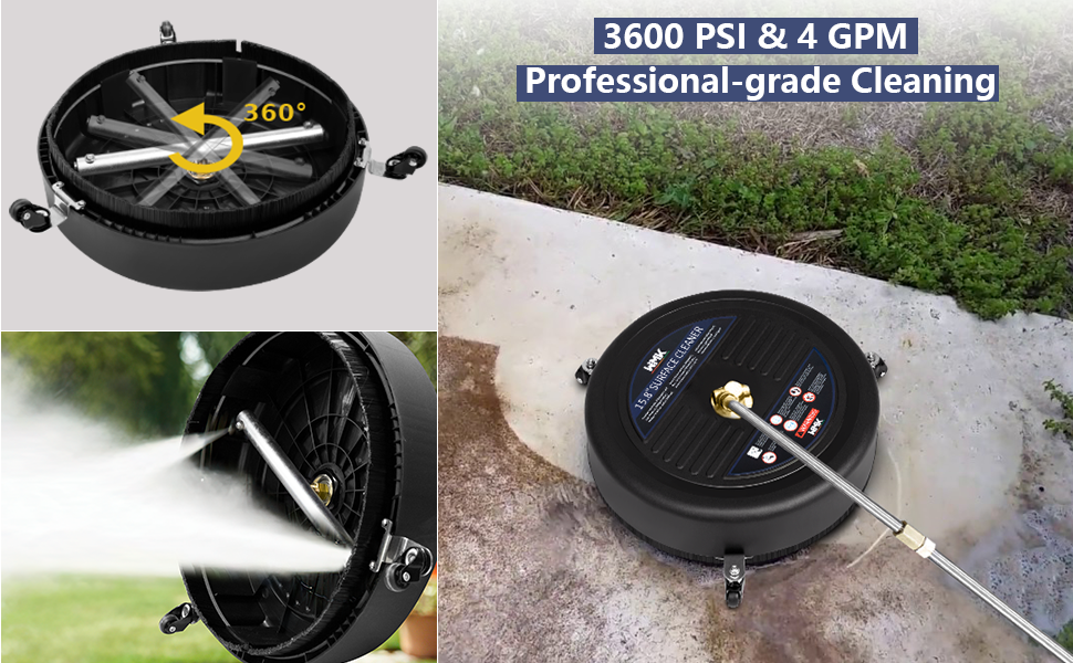 3600PSI & 4 GPM Professional-grade Cleaning