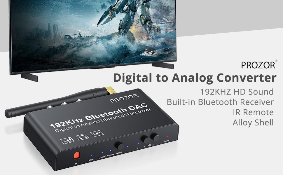 PROZOR DAC Converter 192KHz Bluetooth V5.0 Receiver With IR Remote