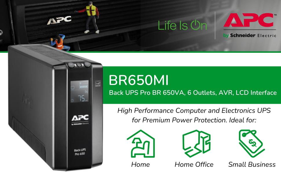 Back UPS Pro BR 650VA, 6 Outlets, AVR, LCD Interface BR650MI