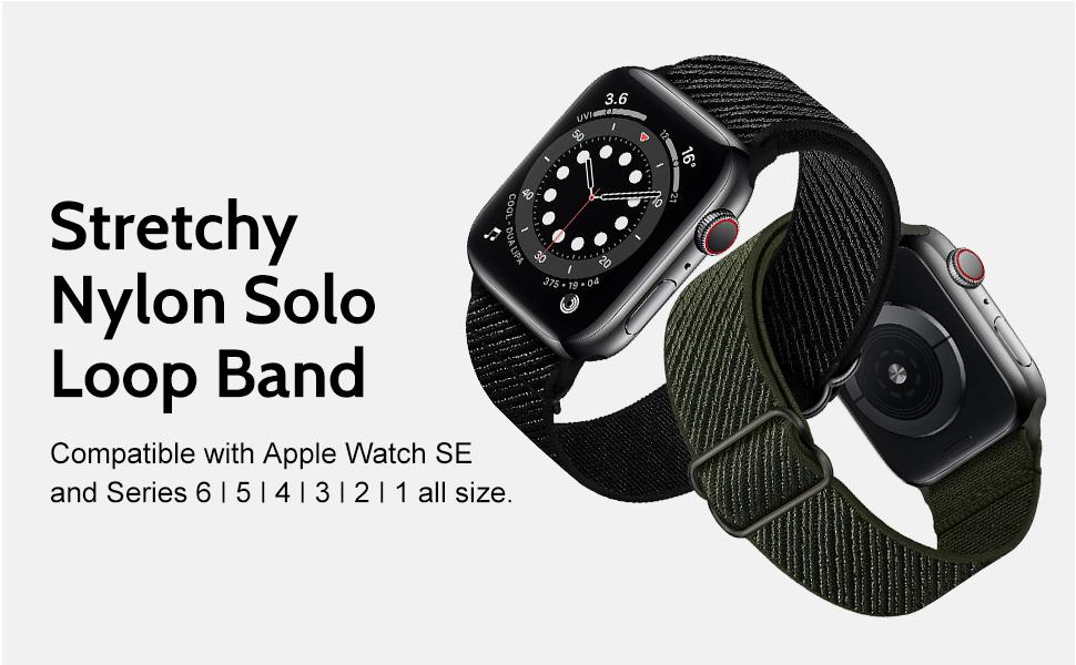 amBand Elastic Adjustable Nylon Apple Watch Bands Compatible with Series 6/5/4/3/2/1 SE