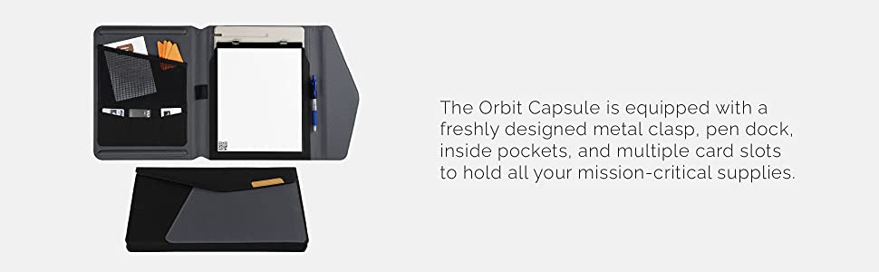 Equipped with a metal clasp, pen dock, inside pockers, and multiple card slots