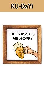 Beer Makes Me Hoppy Framed Block Sign Rustic