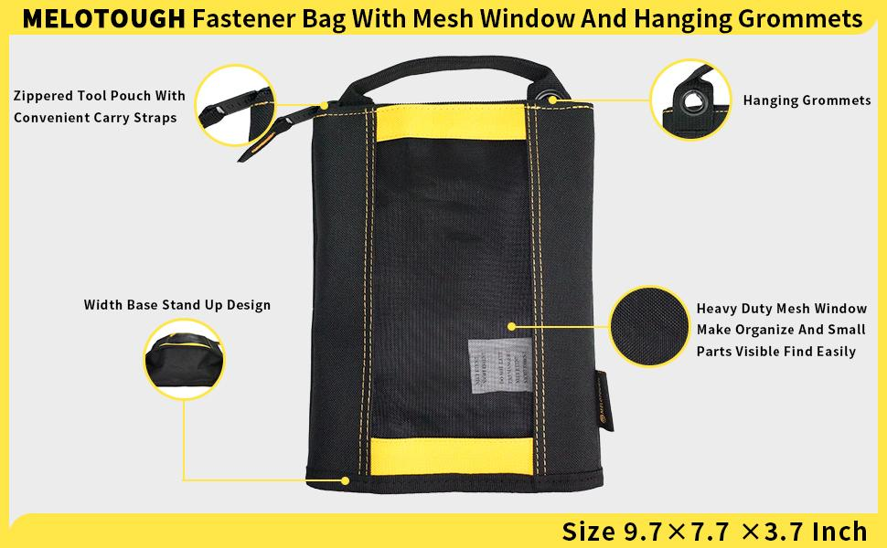 Fastener bag with Mesh Window and Hanging Grommets 2 pack