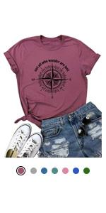 Women Compass Graphic Tees Letter Print T-Shirt