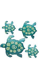 Metal Art Sea Turtles, 4 Pack