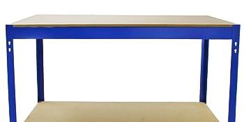 blauwe rekken werkbank