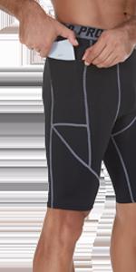 SILKWORLD Menamp;amp;amp;amp;#39;s Compression Shorts Pockets Sports Running Tight