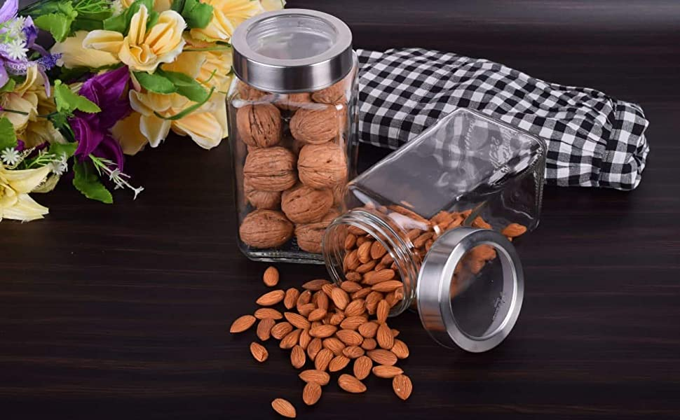 TRANSPARENT CLEAR STORAGE CONTAINER GLASS JAR