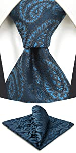 Paisley Blue Neckties for Men with Pocket Square