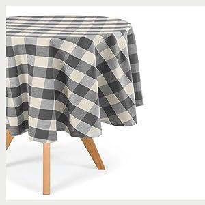 Cotton Plaid Round Tablecloth