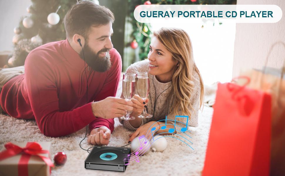 Gueray portable cd player for car