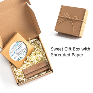 sweet gift box with shredded paper