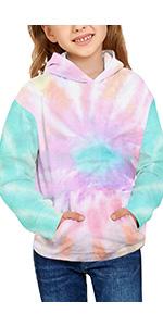 Girls sweatshirts long sleeve Tie Dye printed round neck pullover tops