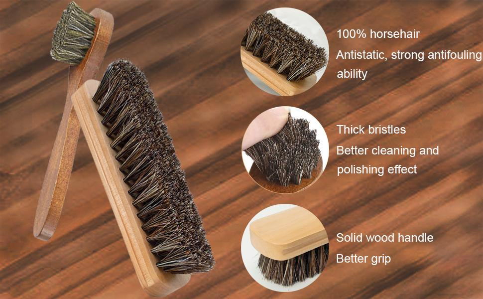 Details of Horsehair Shoes Polish Brushes