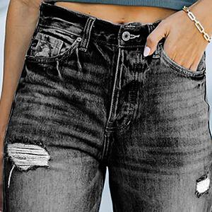 Azokoe Women Ripped Jeans Casual Wide Leg Denim Pants