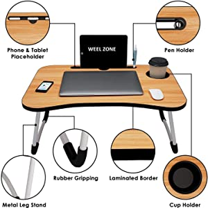 Multipurpose Laptop table with Cup Holder Tablet Holder, Standing Desk/Stand Up table