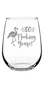 Text says 30 flocking years with image of a flamingo.