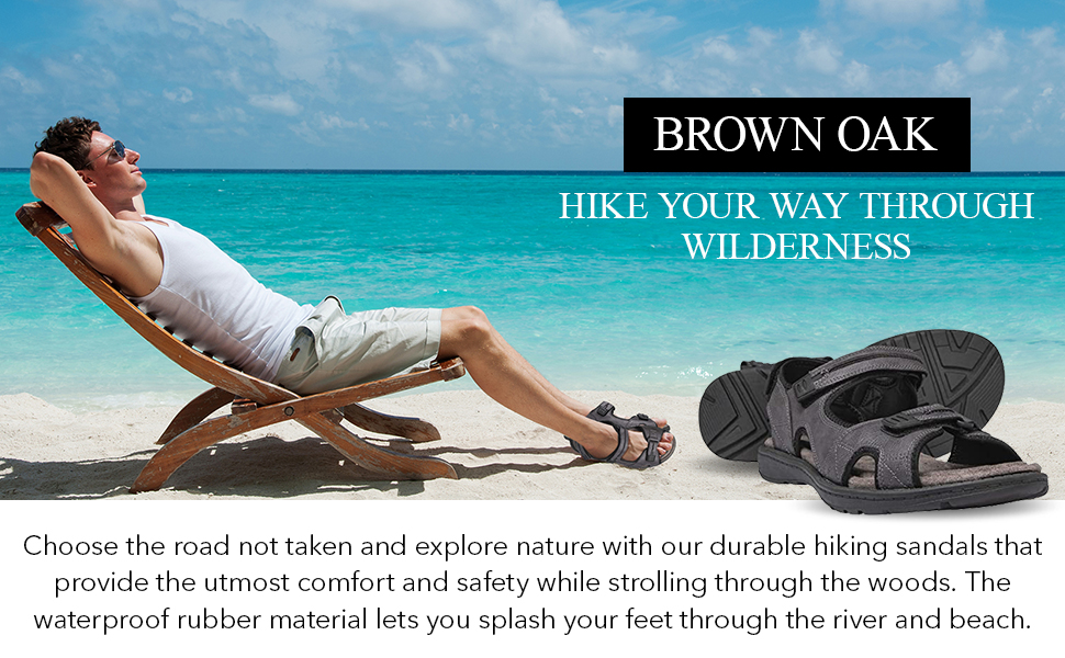 Brown oak sandals for men