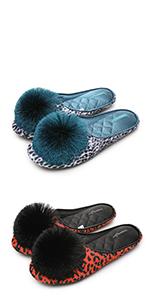 Leopard Slides with Pom-Pom