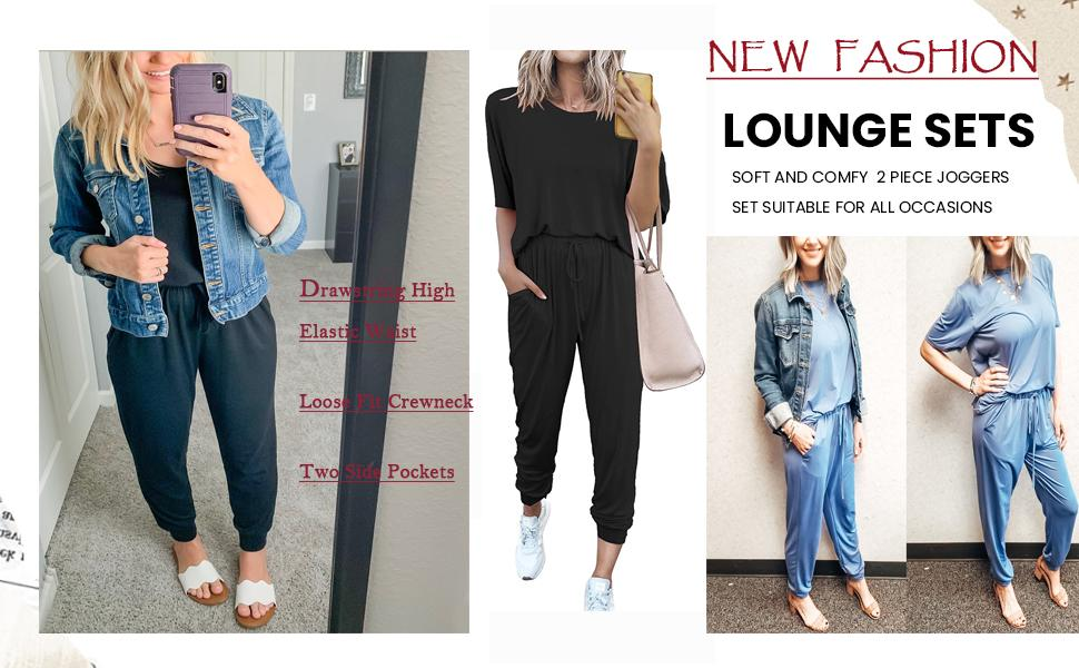 Women Casual 2 Piece Outfit Long Pant Set Sweatsuits Tracksuits