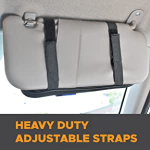 EcoNour Visor organizer with Heavy duty adjustable straps