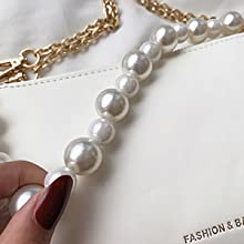 Decorative pearl chain can be used as a handle.