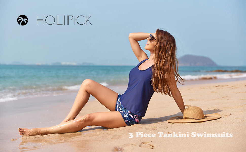 holipick three piece tankini with boy shorts