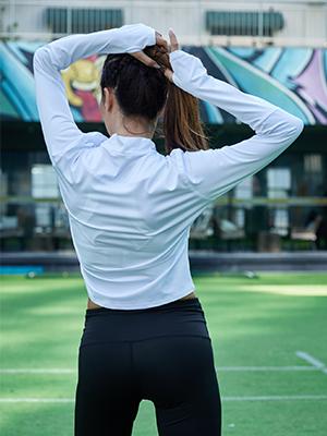 Womens Long Sleeve Cropped Half Zip Shirt