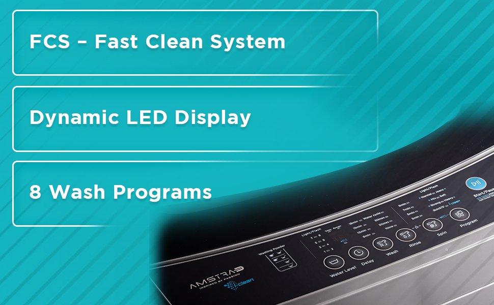 Amstrad Top Load Fully-Automatic Washing Machine 8 wash program