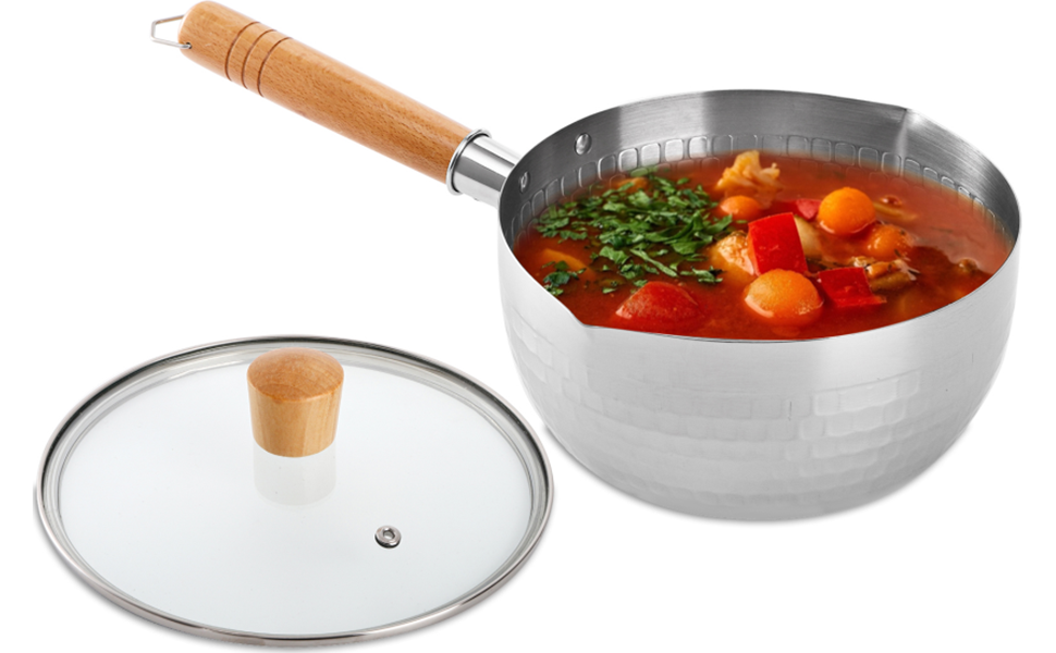 DEAYOU Stainless Steel Saucepan with Glass Lid