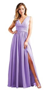 V Neck Pleated Chiffon Bridesmaid Dresses