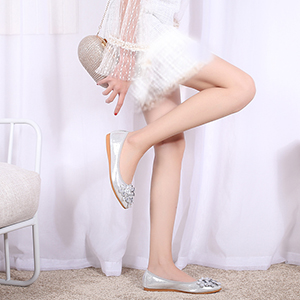 silver foldable pointed toe flats