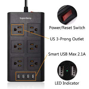This flat power strip perfect for narrow space behind furniture. More details for this multi outlet