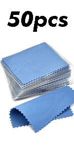 50pcs Jewelry Cleaning Cloth Dark Blue Polishing Cloth for Sterling Silver 8x8cm
