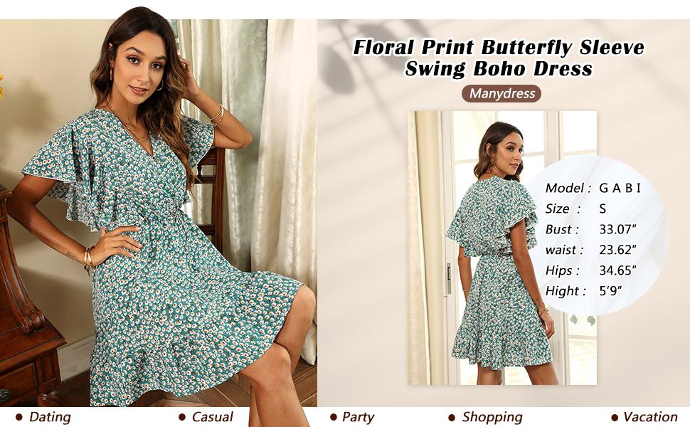 Floral Print Butterfly Sleeve Swing Boho Dress