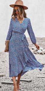 floral wrap v neck maxi dress