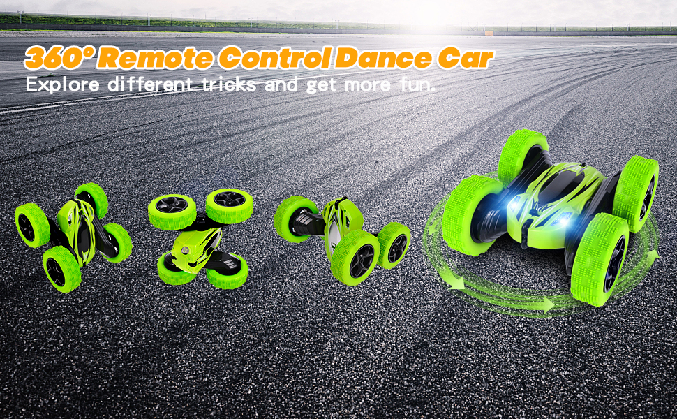 Rcfunkid remote control car can be flipped 360°, with various fancy ways to play.