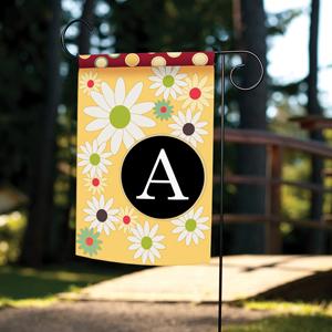 Garden flag with floral monogram A design