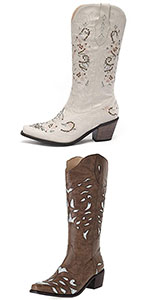 Women Embroidered Chunky Heel Wedding Cowgirl Boots